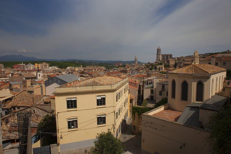 Vista da cidade velha Girona, Catalonia, Espanha foto de stock royalty free