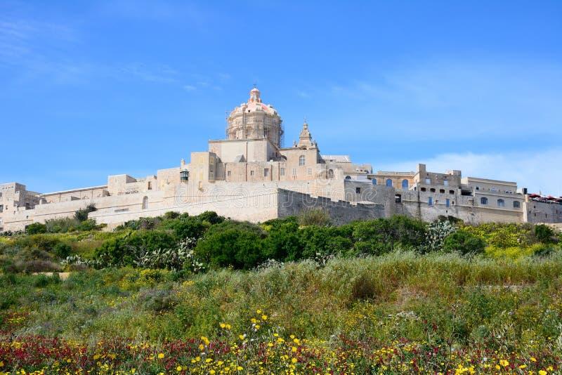Vista da citadela, Mdina imagem de stock royalty free