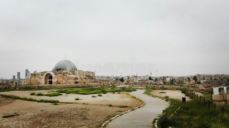 Vista da citadela velha de Amman fotos de stock