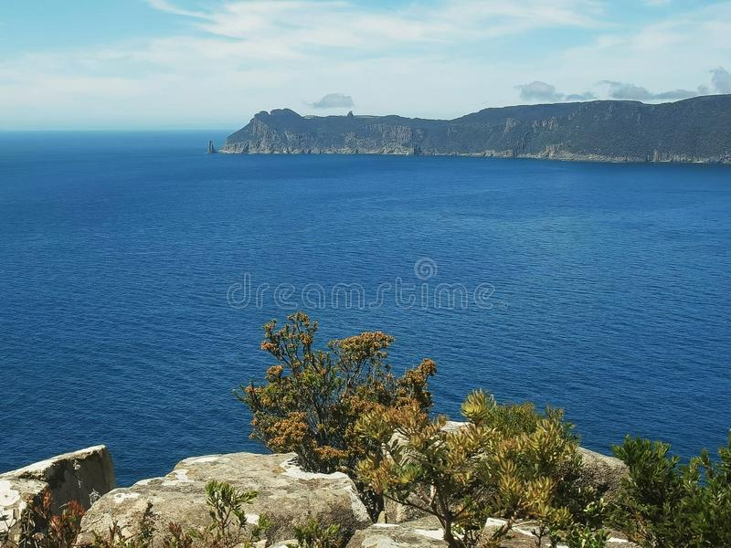 Vista da coluna do cabo da trilha hauy do cabo em Tasmânia fotos de stock royalty free