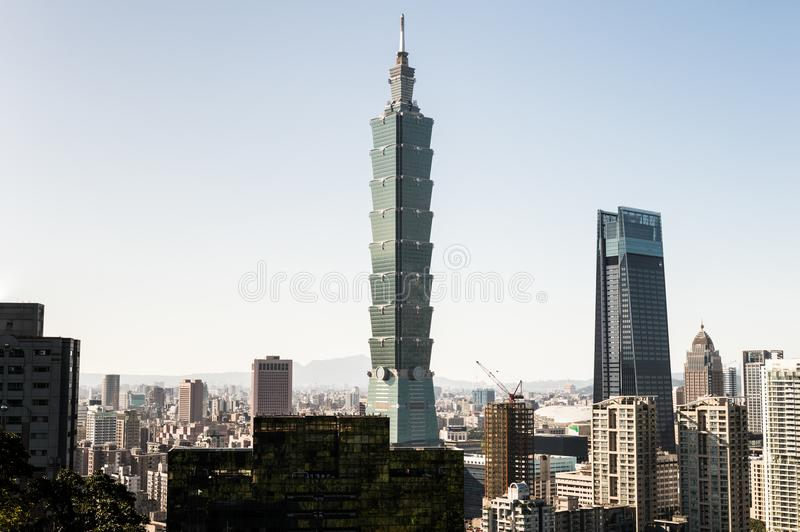 Vista da construção do World Trade Center de Taipei 101 foto de stock royalty free
