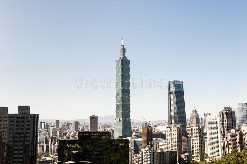 Vista da construção do World Trade Center de Taipei 101 fotografia de stock royalty free
