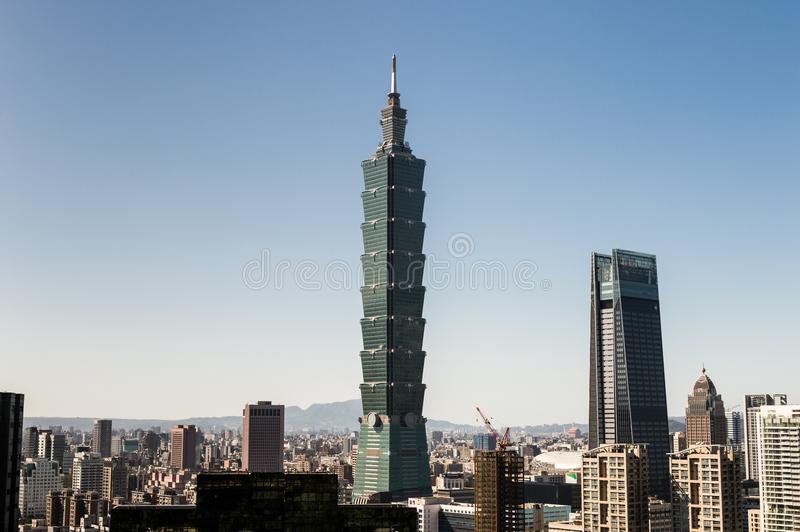 Vista da construção do World Trade Center de Taipei 101 fotos de stock royalty free