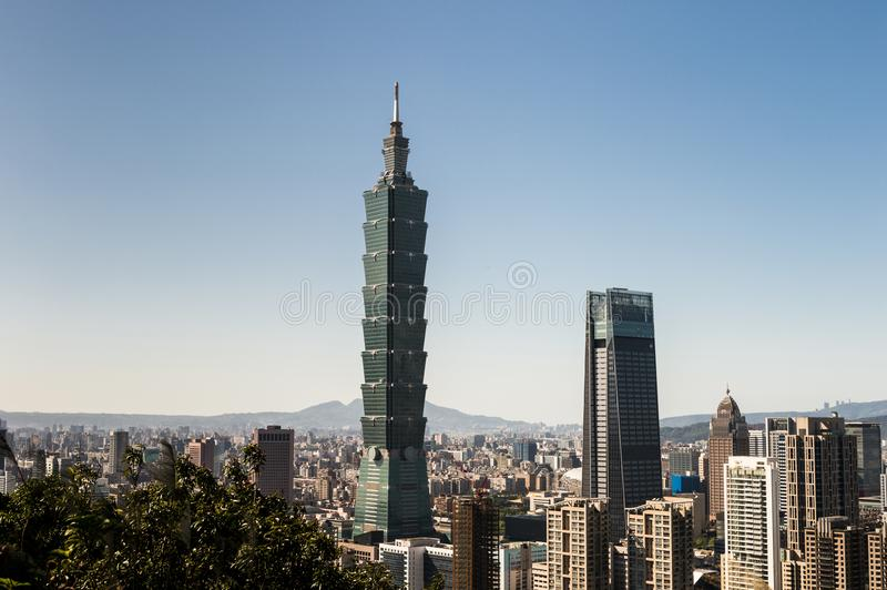 Vista da construção do World Trade Center de Taipei 101 foto de stock