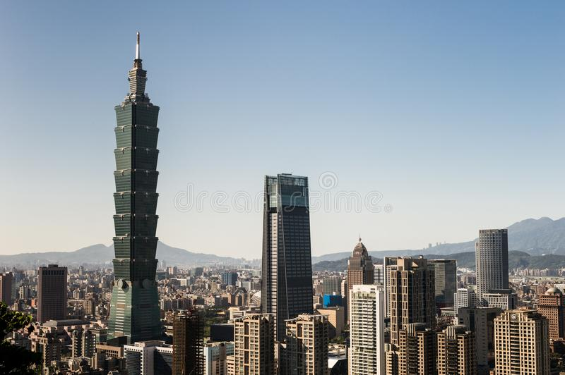 Vista da construção do World Trade Center de Taipei 101 fotografia de stock