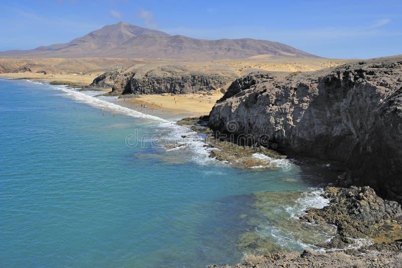 Download Playa De Papagayo, Ilha De Lanzarote, Ilhas Canárias, Spain Foto de Stock - Imagem de canário, areia: 29840242