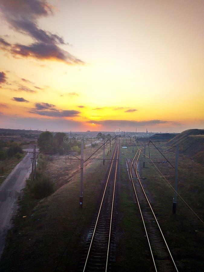 A vista da estrada de ferro é muito bonita foto de stock