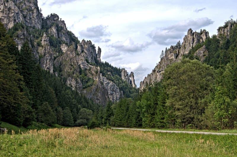 Vista da estrada principal ao vale Vratna Dolina de Vratna imagens de stock royalty free