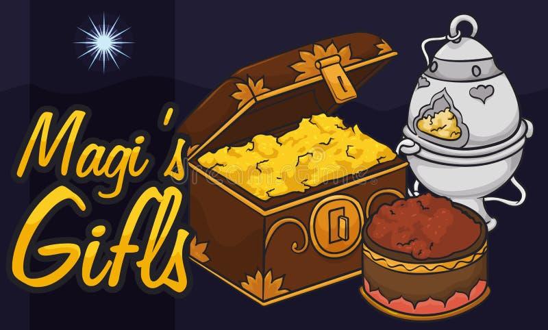 Vista da estrela de Bethlehem com ofertas do ` s dos três Reis Magos para o esmagamento, ilustração do vetor ilustração royalty free