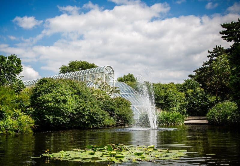 Vista da estufa da casa de palma em jardins de Kew através do lago em Kew, Londres, Reino Unido fotografia de stock royalty free