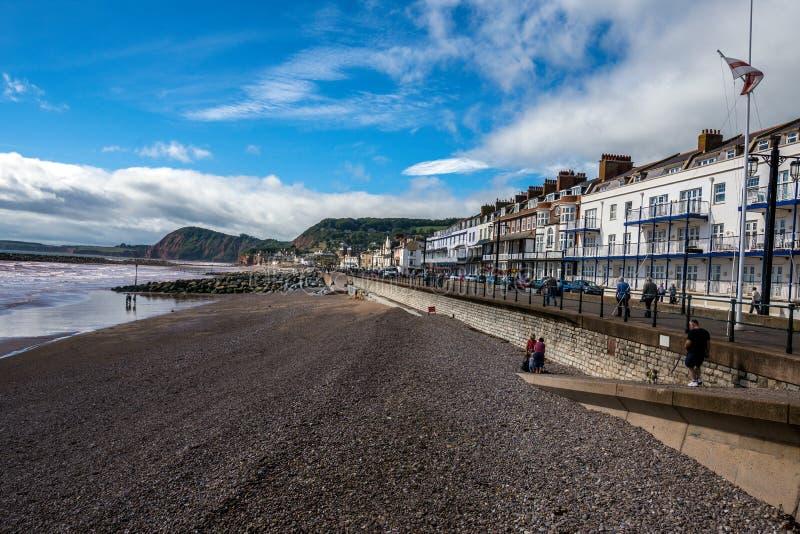 Vista da frente marítima de Sidmouth, Devon, Inglaterra fotos de stock royalty free