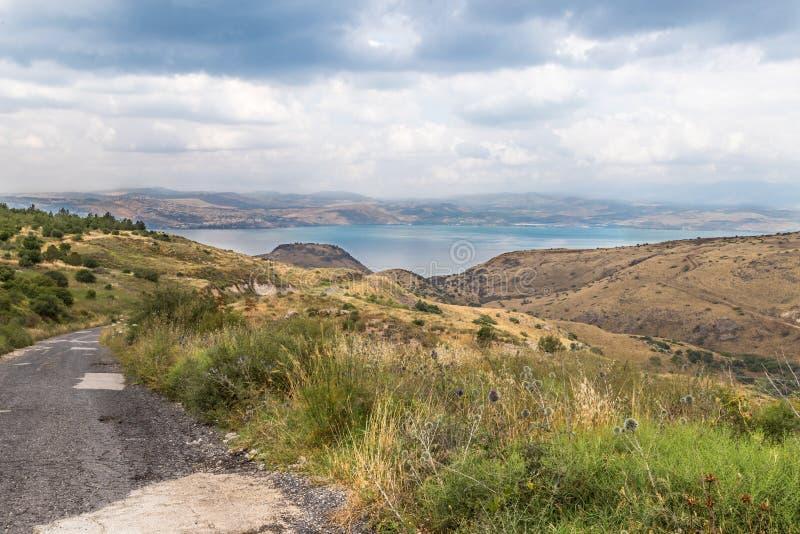 Vista da Golan Heights al mare della Galilea - Kineret, è fotografia stock libera da diritti