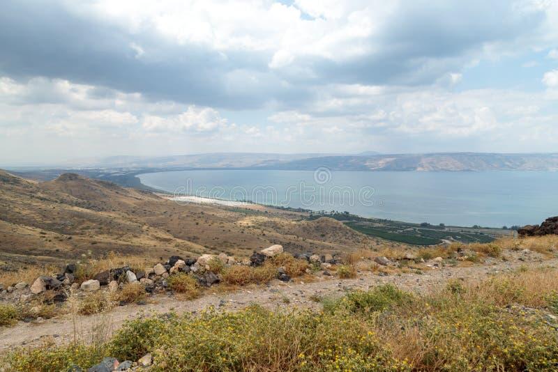 Vista da Golan Heights al mare della Galilea - Kineret, è fotografie stock