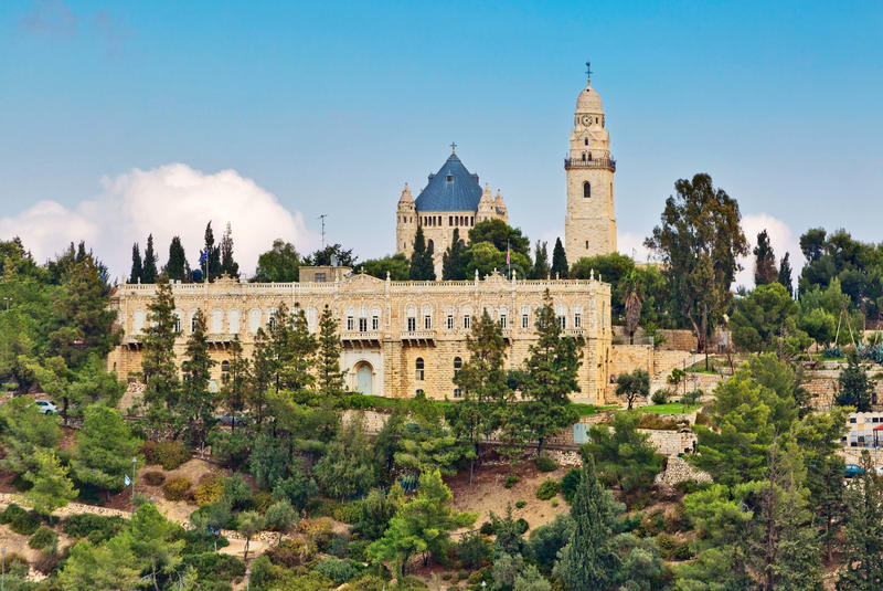 Vista da igreja de Dormition, Jerusalém, Israel imagens de stock