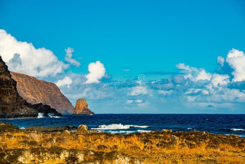 Vista da Ilha de Páscoa e do oceano de South Pacific no Chile fotos de stock
