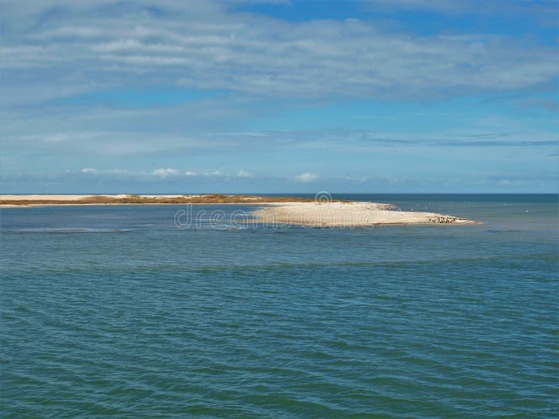 Vista da ilha pequena do Hatteras à balsa de Ocracoke imagem de stock royalty free