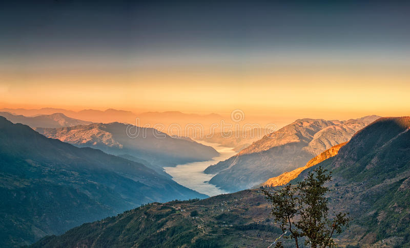 Vista da kalinchok Photeng verso la valle di Kathmandu immagini stock libere da diritti