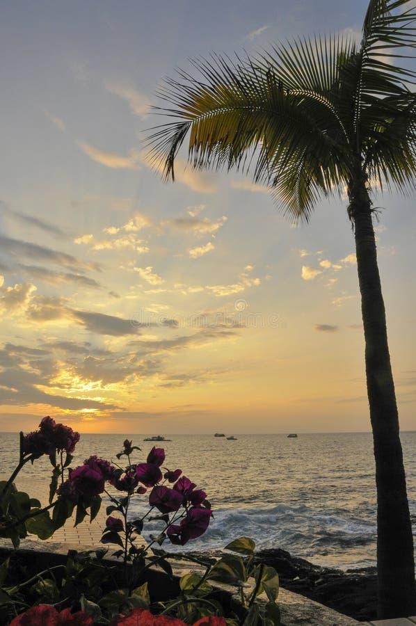 Vista da Kona al tramonto sulla grande isola delle Hawai immagini stock