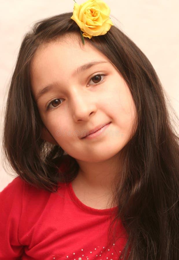 Vista da menina agradável com cabelo preto longo imagem de stock