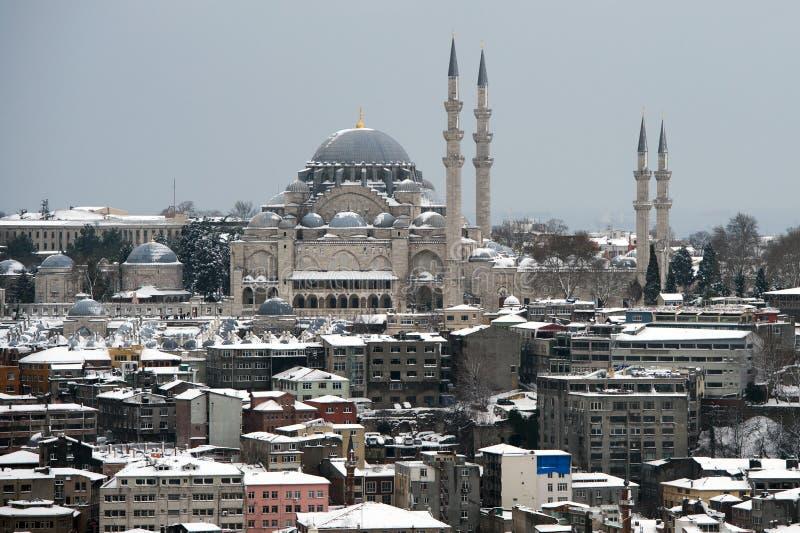 Vista da mesquita de Suleymaniye da torre de Galata foto de stock