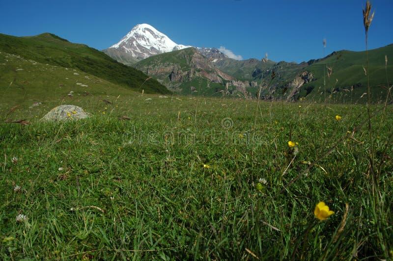 Vista da montagem Kazbek em maior Cáucaso, Geórgia fotografia de stock royalty free