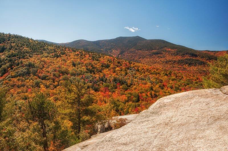 Vista da montanha às florestas e às montanhas do outono Floresta nacional EUA da montanha branca fotografia de stock royalty free