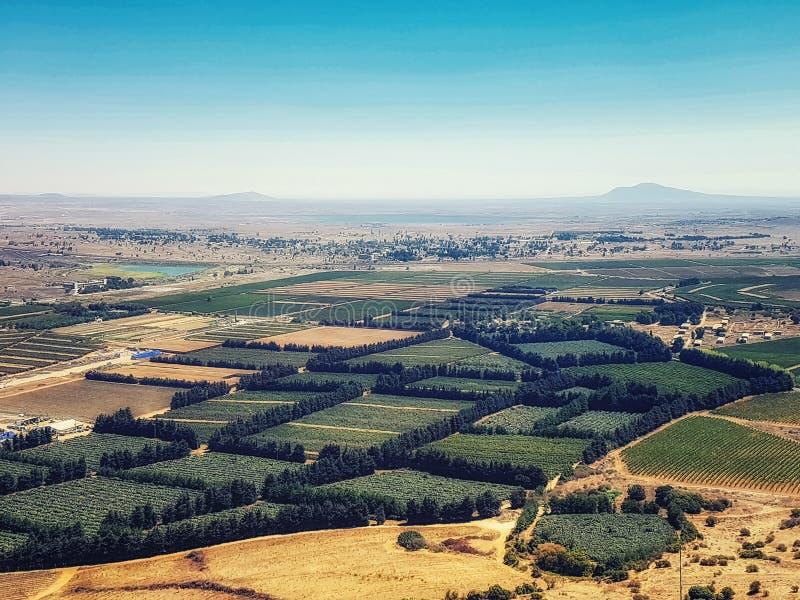 Vista vista da montanha de Bental, Golan Heights, Israel, M?dio Oriente imagem de stock royalty free