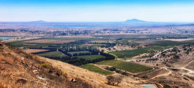 Vista vista da montanha de Bental, Golan Heights, Israel, M?dio Oriente fotografia de stock royalty free