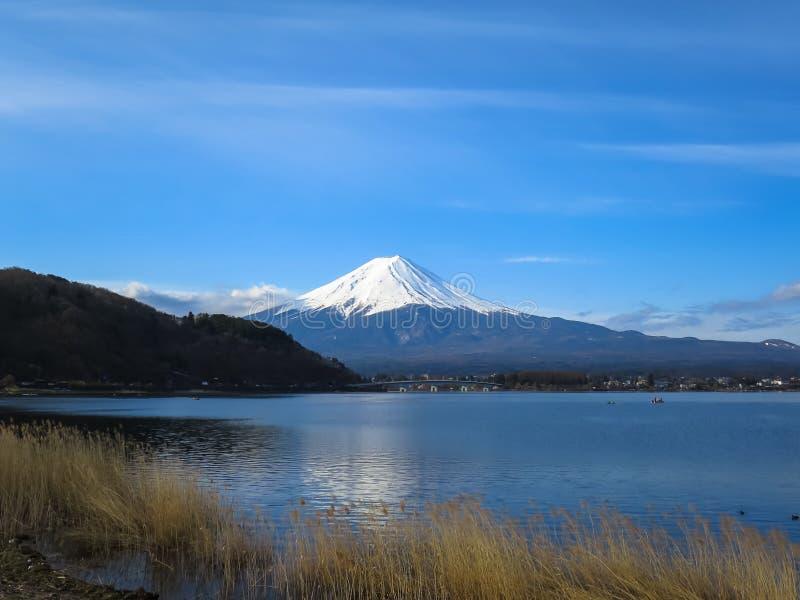 Vista da montanha de Fuji com parte superior branca da neve, acti do lago do kawaguchiko fotografia de stock royalty free