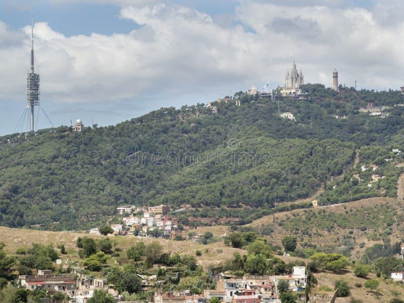 Vista da montanha de Tibidabo em Barcelona, Espanha do ‹do †do ‹do †foto de stock