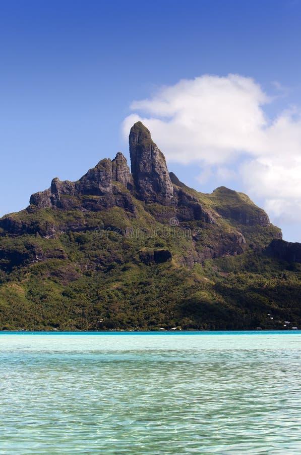 Vista da montanha e do oceano de Otemanu Bora-Bora polynesia imagem de stock