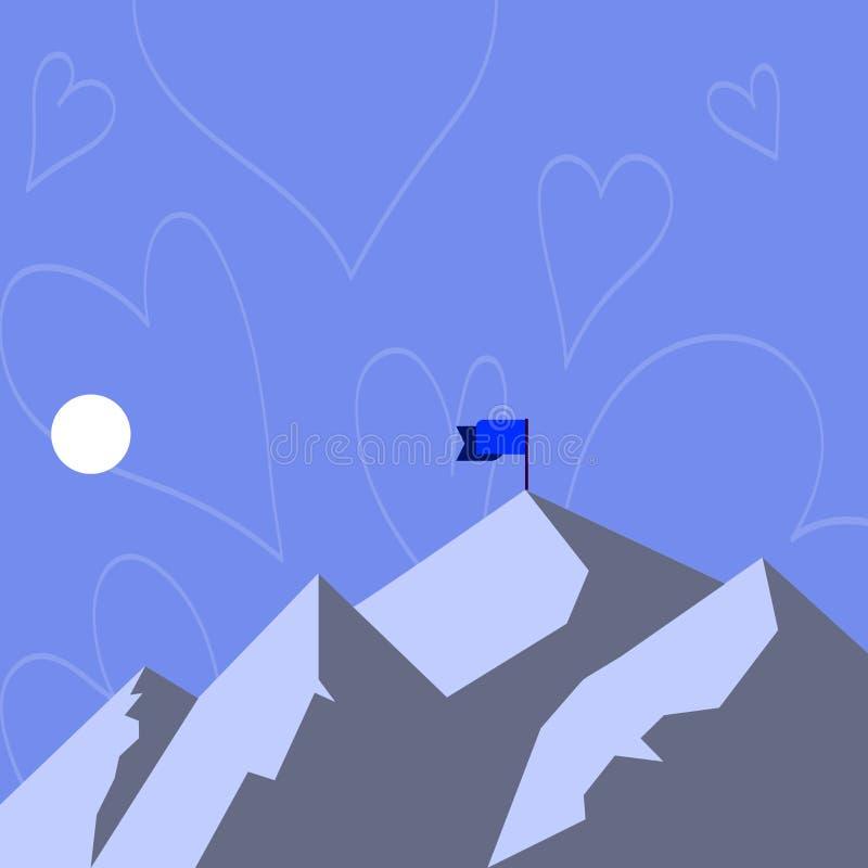 Vista da montanha e dos montes com a sombra que indica a bandeira da hora e da bandeira em um dos picos Em volta da lua ou do Sun ilustração royalty free