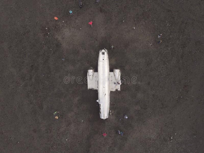 Vista da opinião de Islândia do plano DC-3 imagem de stock