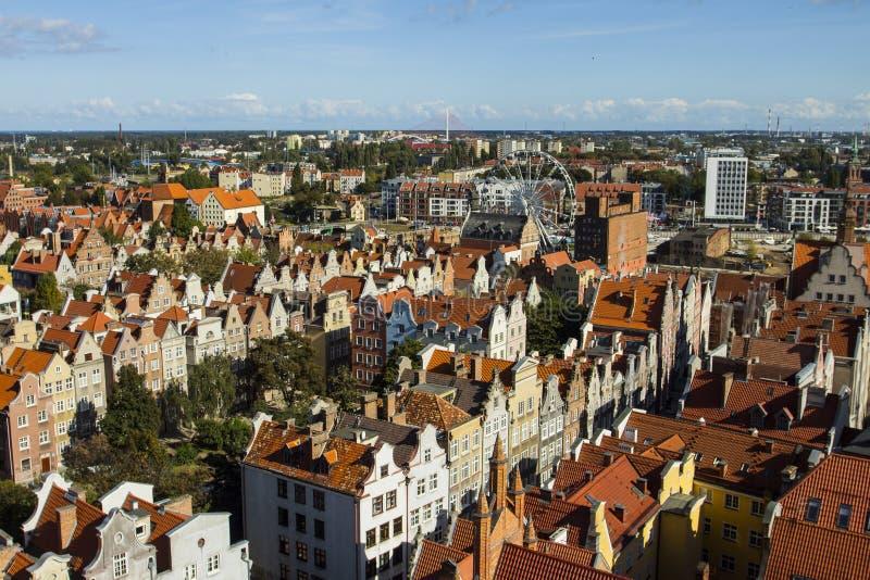 Vista da parte superior da cidade velha de Gdansk poland imagens de stock royalty free