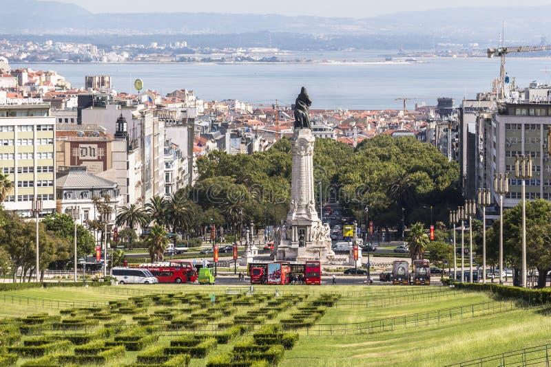 Vista da parte superior do parque Eduardo em Lisboa fotografia de stock