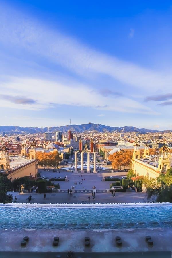 Vista da plaza espana de MNAC fotos de stock