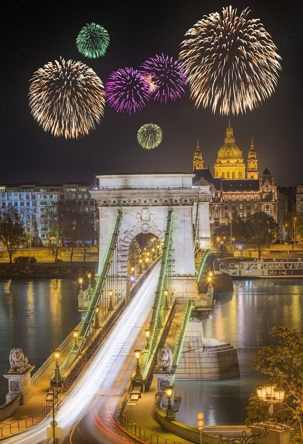 Vista da ponte Chain, Budapest foto de stock