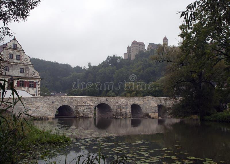 Vista da ponte de pedra sobre o rio de Wornitz imagens de stock