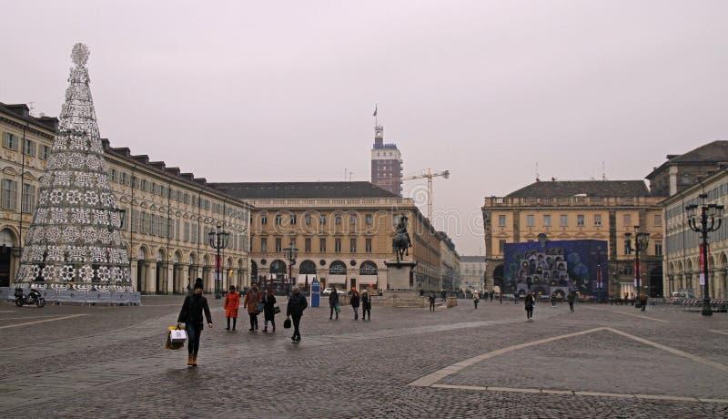 Vista da pra?a San Carlo em Turin, It?lia fotografia de stock