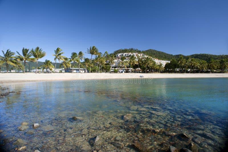 Vista da praia bonita de Airlie, Queensland fotos de stock