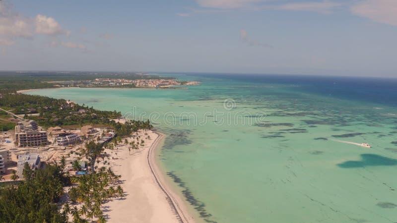 Vista da praia com as palmeiras na parte superior fotos de stock royalty free