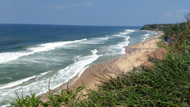 Vista da praia de Varkala de um penhasco foto de stock royalty free