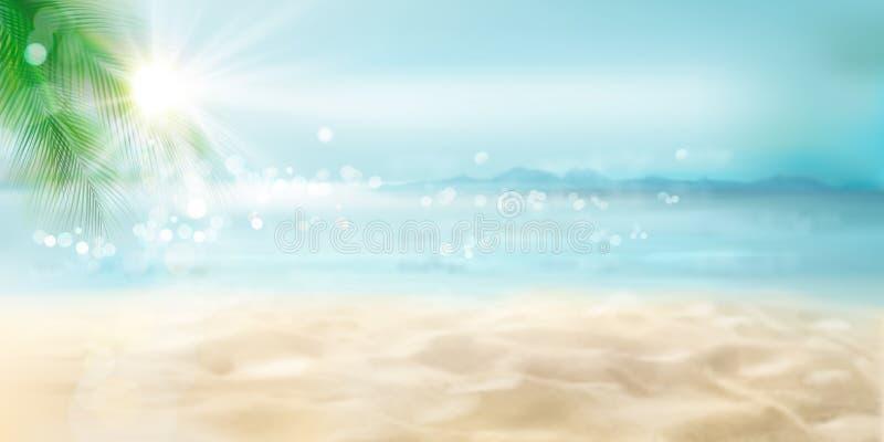 Vista da praia ensolarada Recurso tropical Ilustra??o do vetor ilustração stock