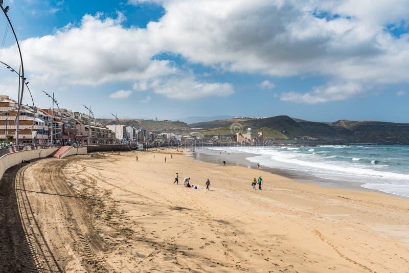 Vista da praia Playa Las Canteras, Las Palmas de Gran Canaria, Espanha imagens de stock