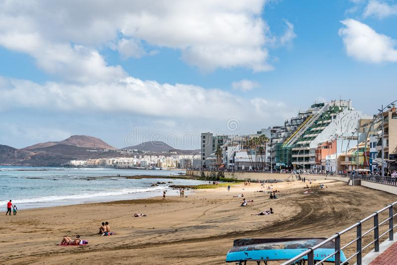 Vista da praia Playa Las Canteras, Las Palmas de Gran Canaria, Espanha fotos de stock