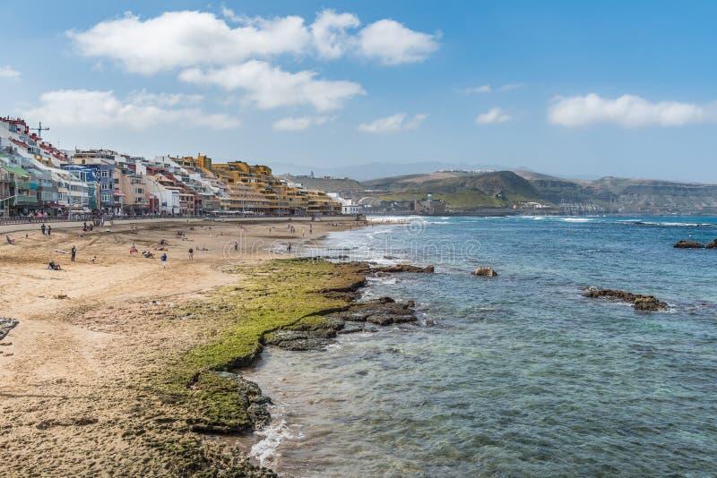 Vista da praia Playa Las Canteras, Las Palmas de Gran Canaria, Espanha foto de stock royalty free