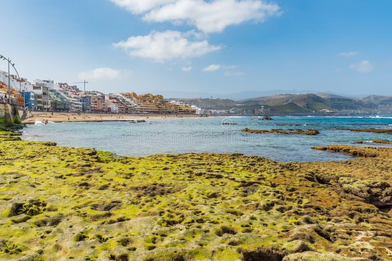 Vista da praia Playa Las Canteras, Las Palmas de Gran Canaria, Espanha foto de stock