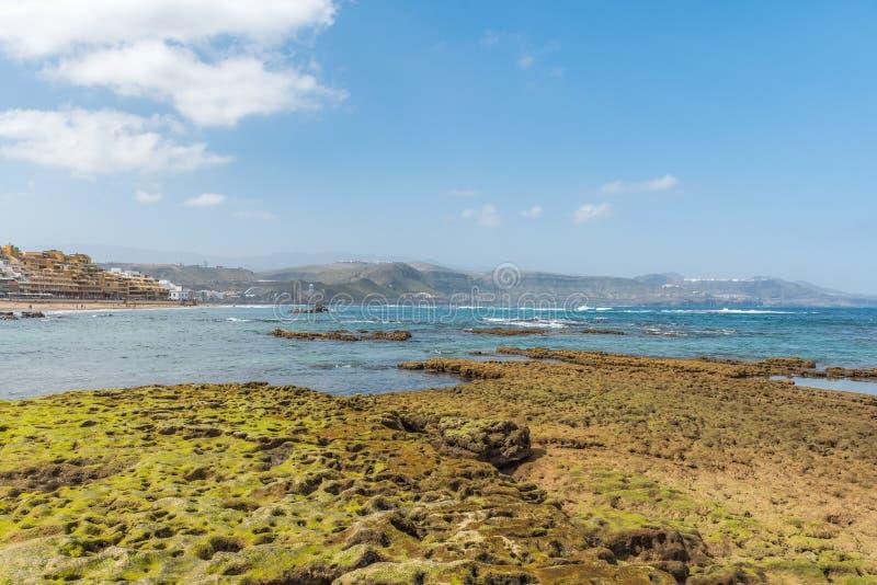 Vista da praia Playa Las Canteras, Las Palmas de Gran Canaria, Espanha fotografia de stock royalty free