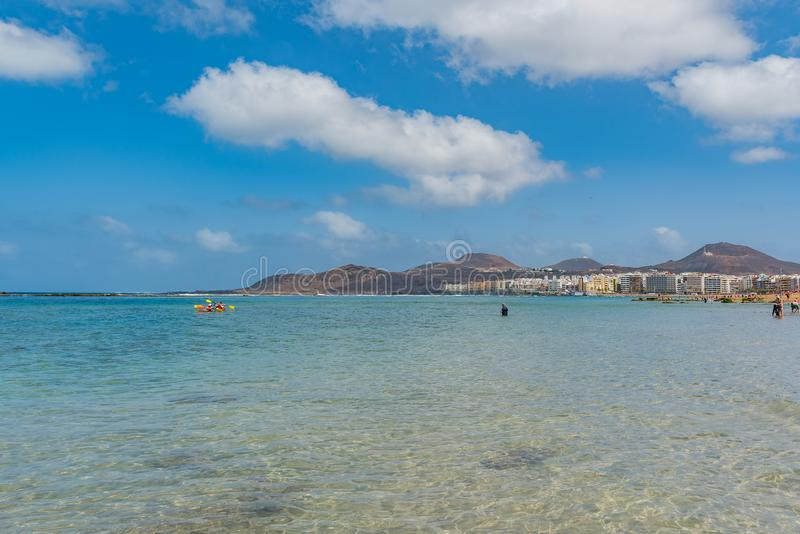 Vista da praia Playa Las Canteras, Las Palmas de Gran Canaria, Espanha fotografia de stock