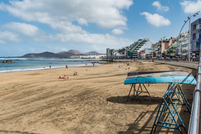 Vista da praia Playa Las Canteras, Las Palmas de Gran Canaria, Espanha fotos de stock royalty free